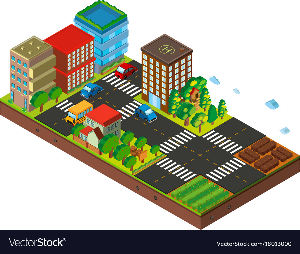 3d design for city with buildings and cars