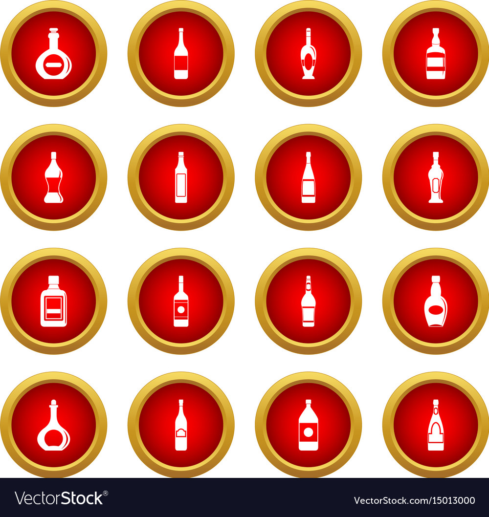 Bottle forms icon red circle set vector image