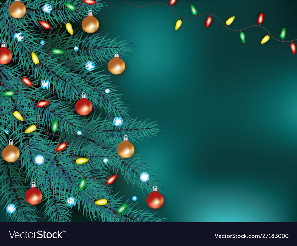 Christmas background with xmas tree and garland