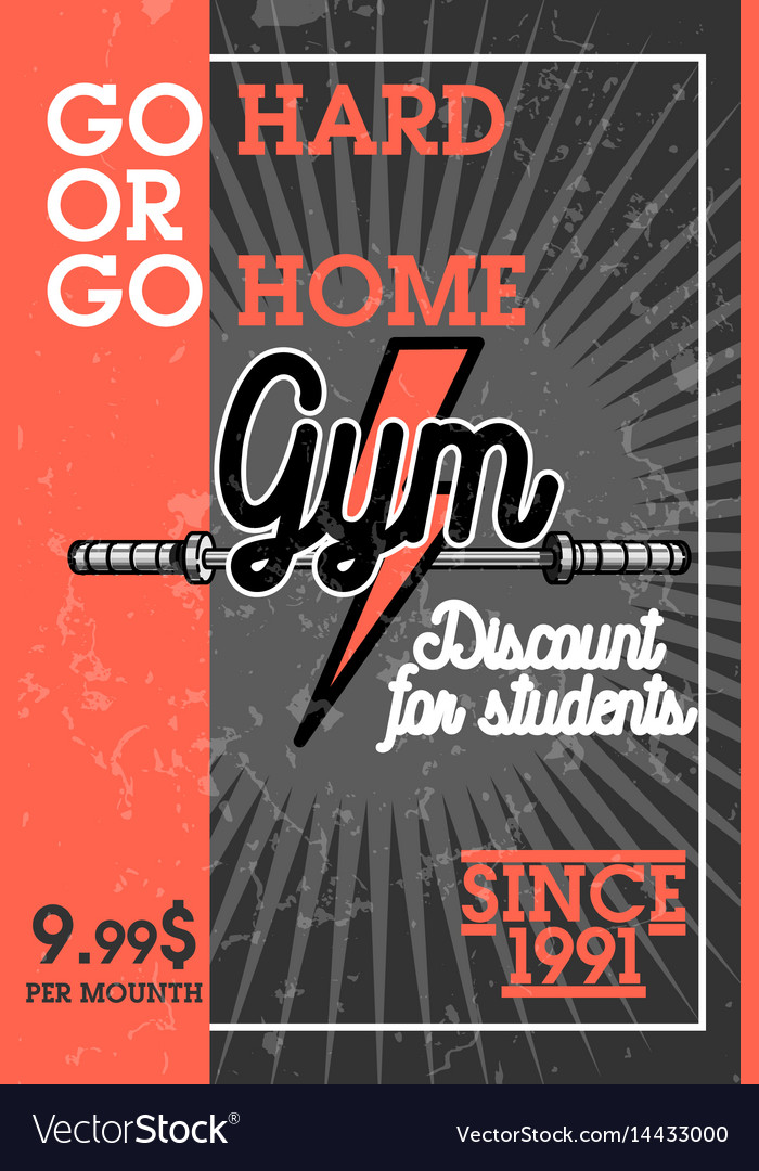 Color vintage gym banner