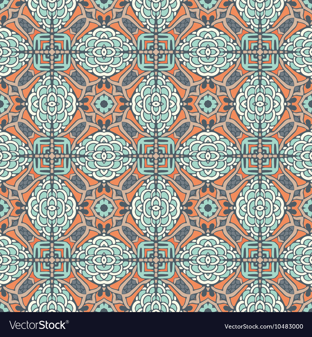 Floral geometric tiles design Royalty Free Vector Image