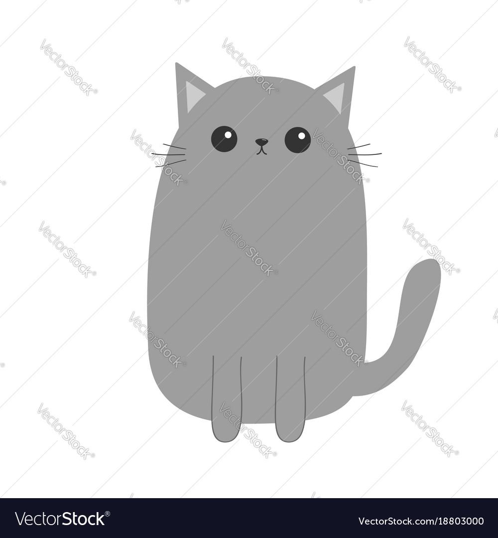 Image of: White Vectorstock Gray Cat Kitten Cute Cartoon Kitty Character Vector Image