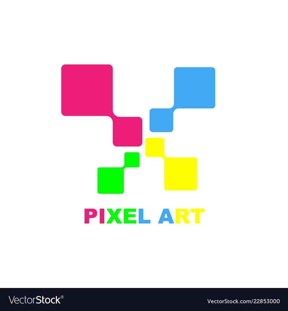 Pixel Art Logo Design Template Eps 10 Royalty Free Vector