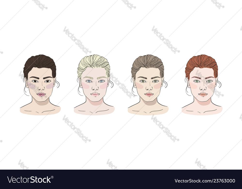 Seasonal color types for women skin beauty set