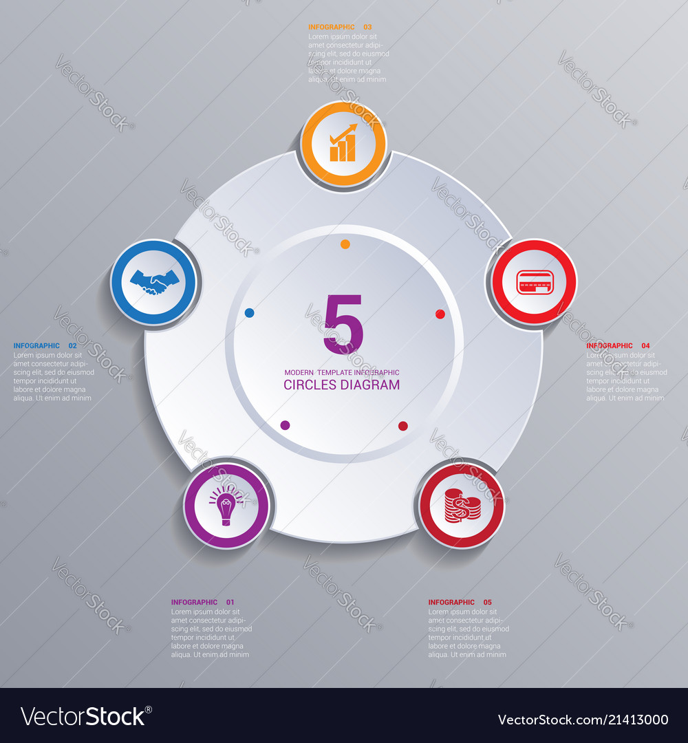 Template modern infographic for 5 options