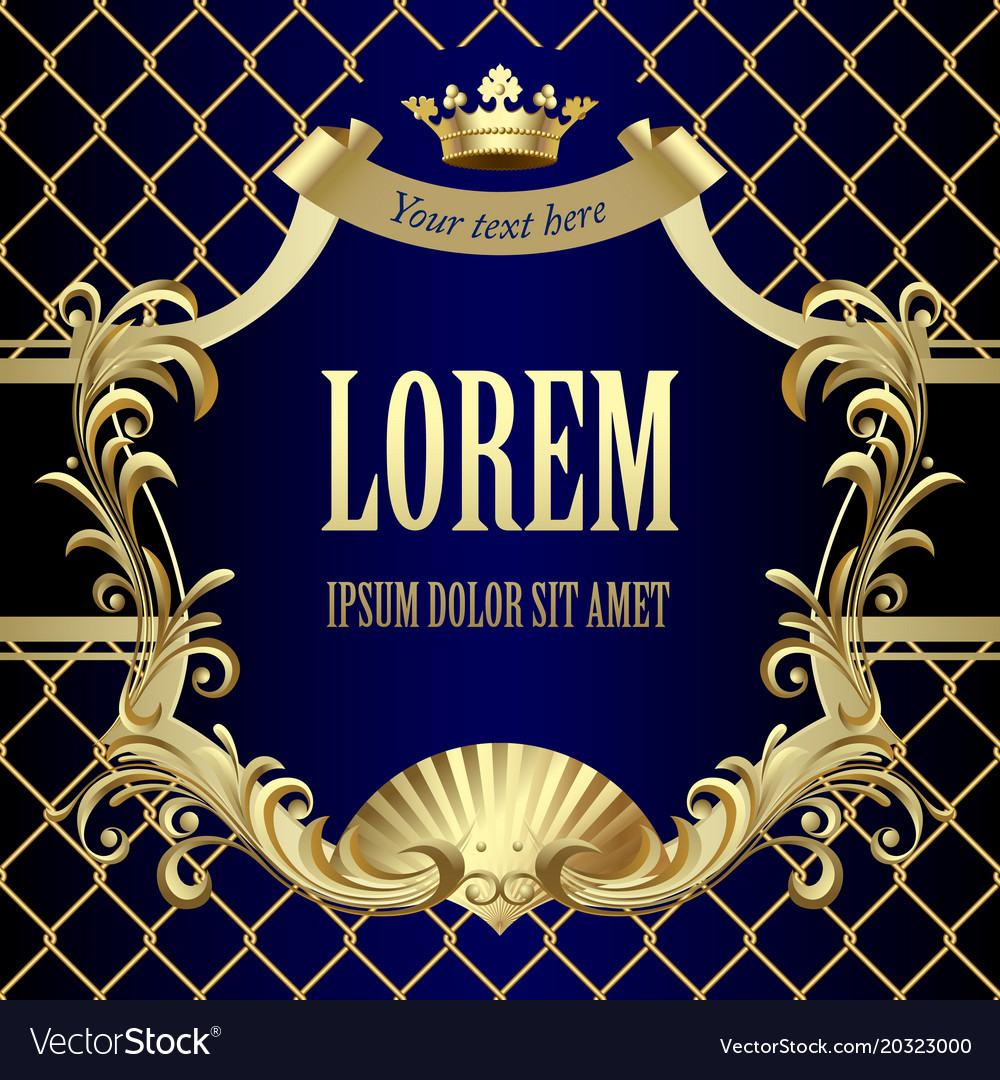 vintage gold banner with a crown on dark blue vector image