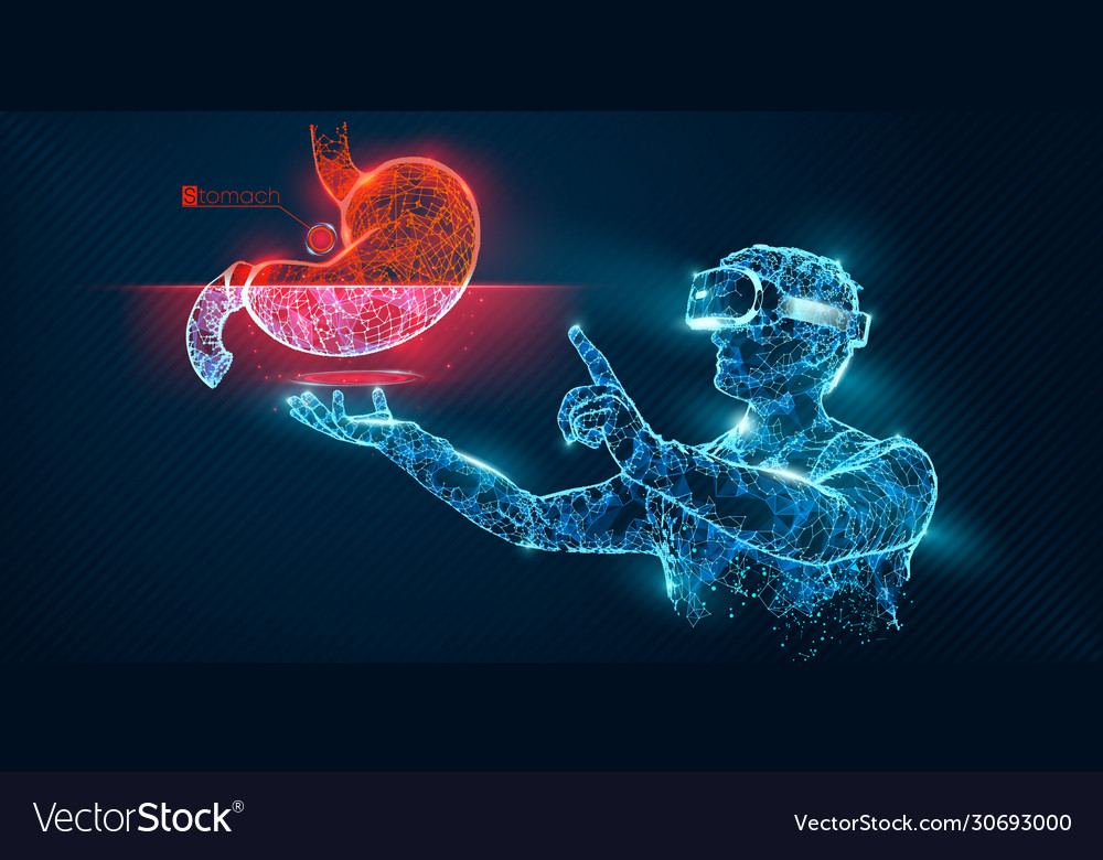 Vr wireframe headset man with stomach