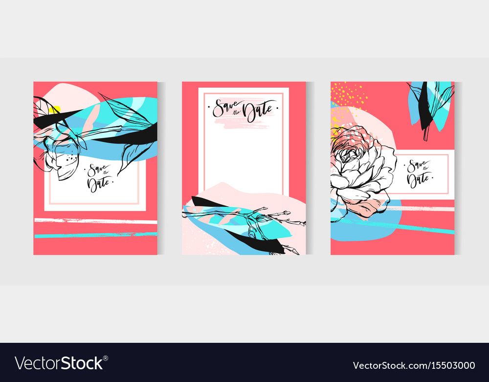 Wedding invitation or card with floral