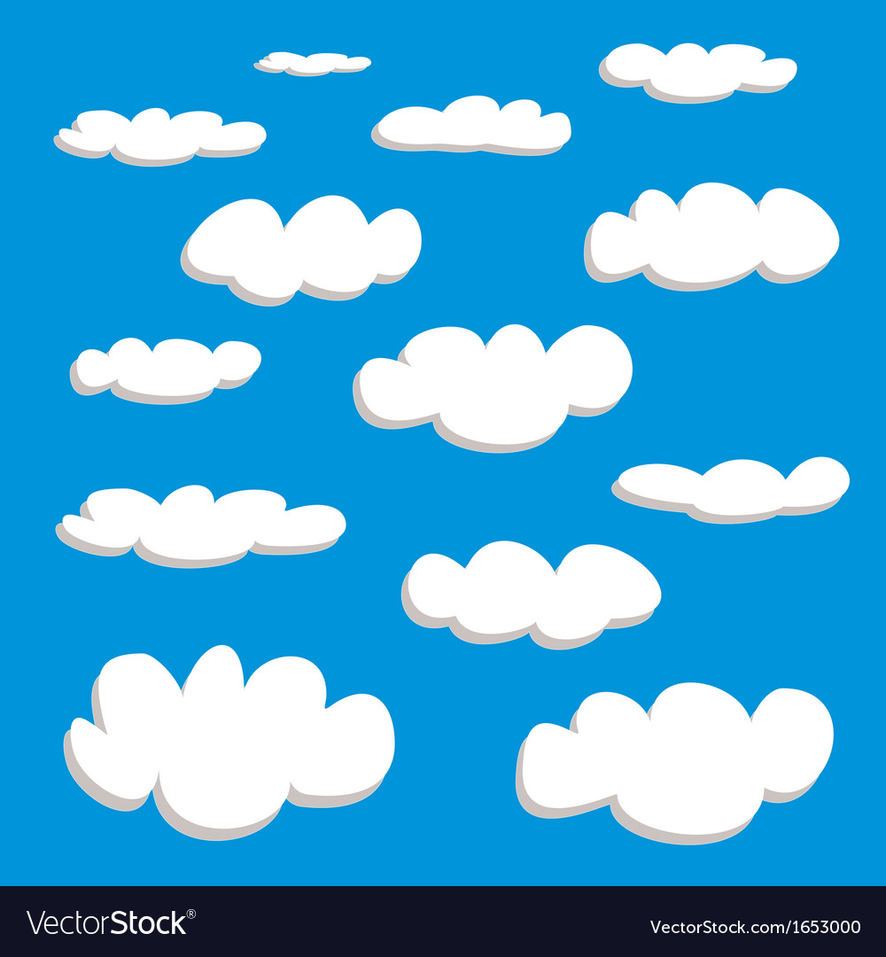 White clouds on summer blue sky background set