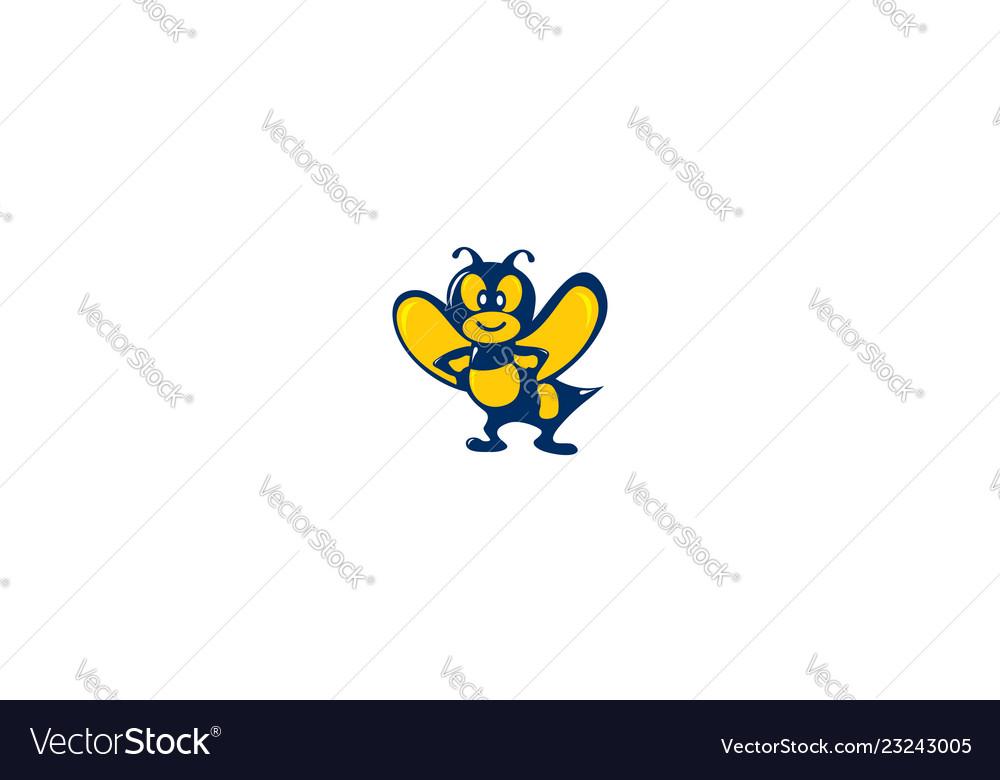 Bee cartoon logo icon