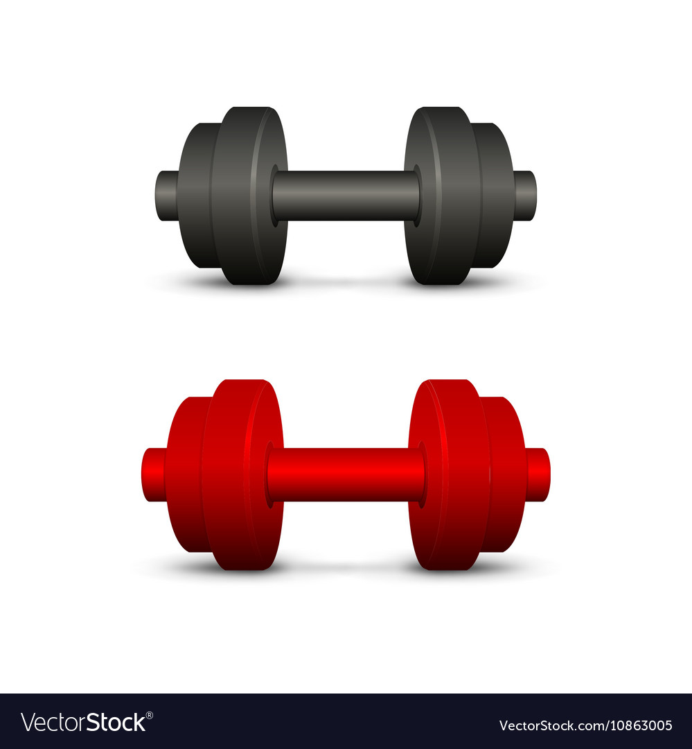 Black and red dumbbells