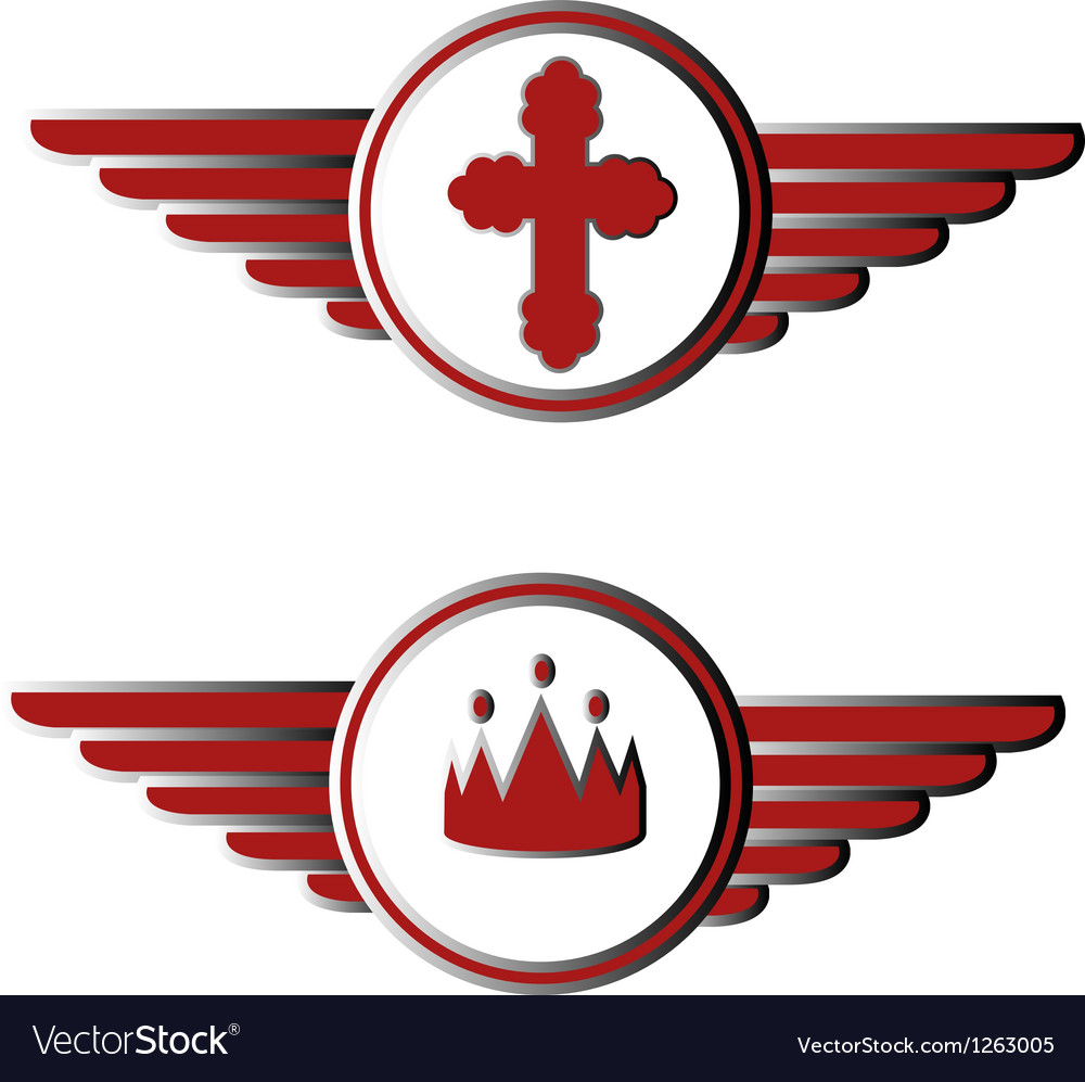 Cross And Crown Symbols Royalty Free Vector Image