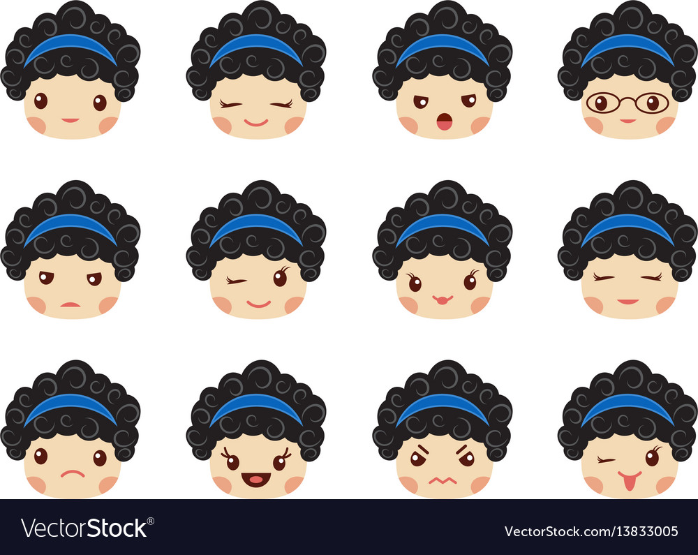 Emoji set of girls avatar collection vector image