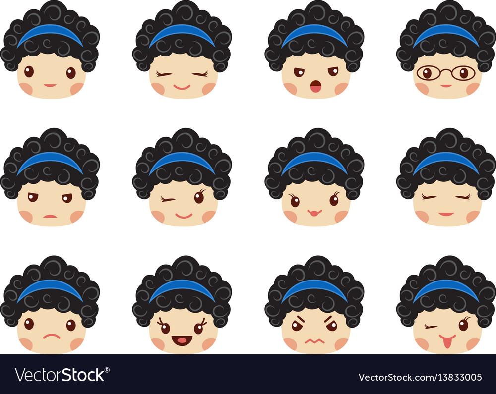 Emoji set of girls avatar collection