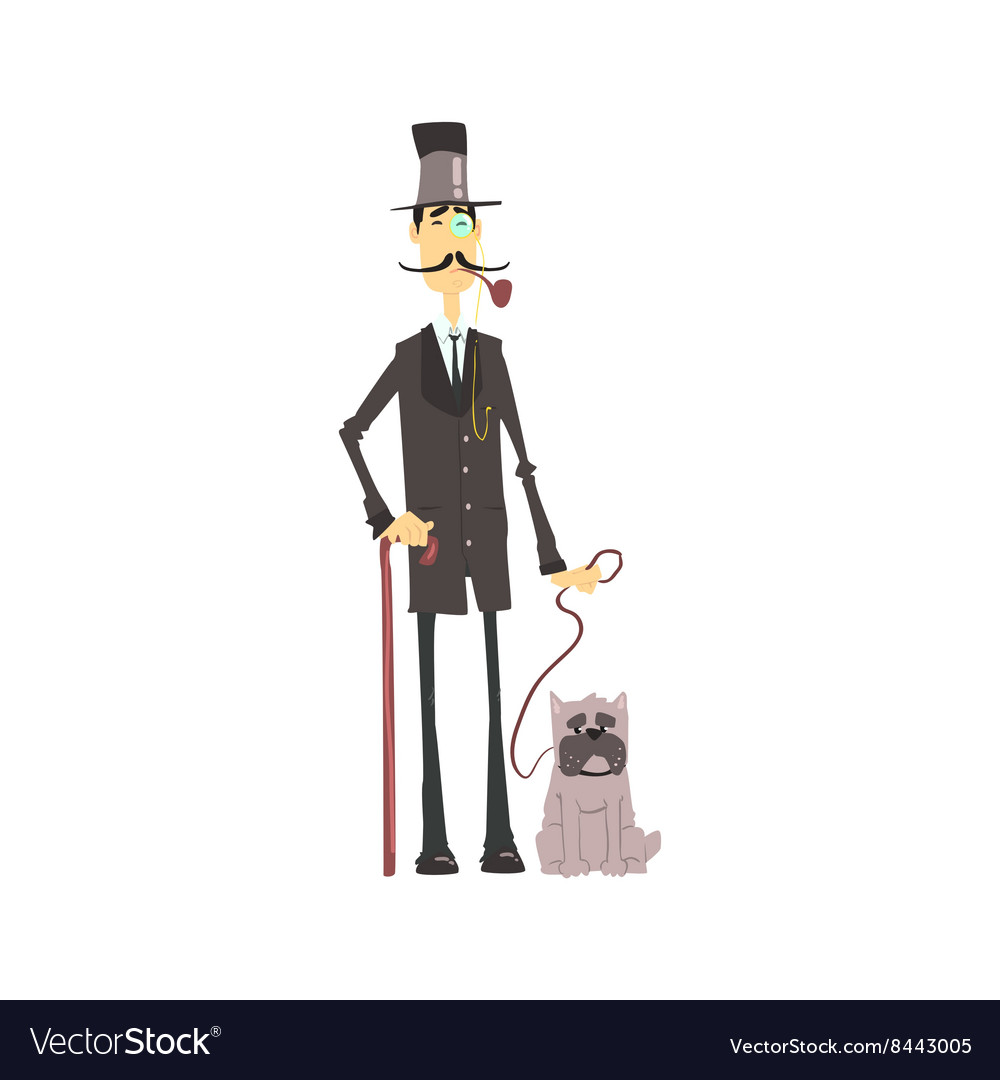 English Gentleman With Bulldog vector image