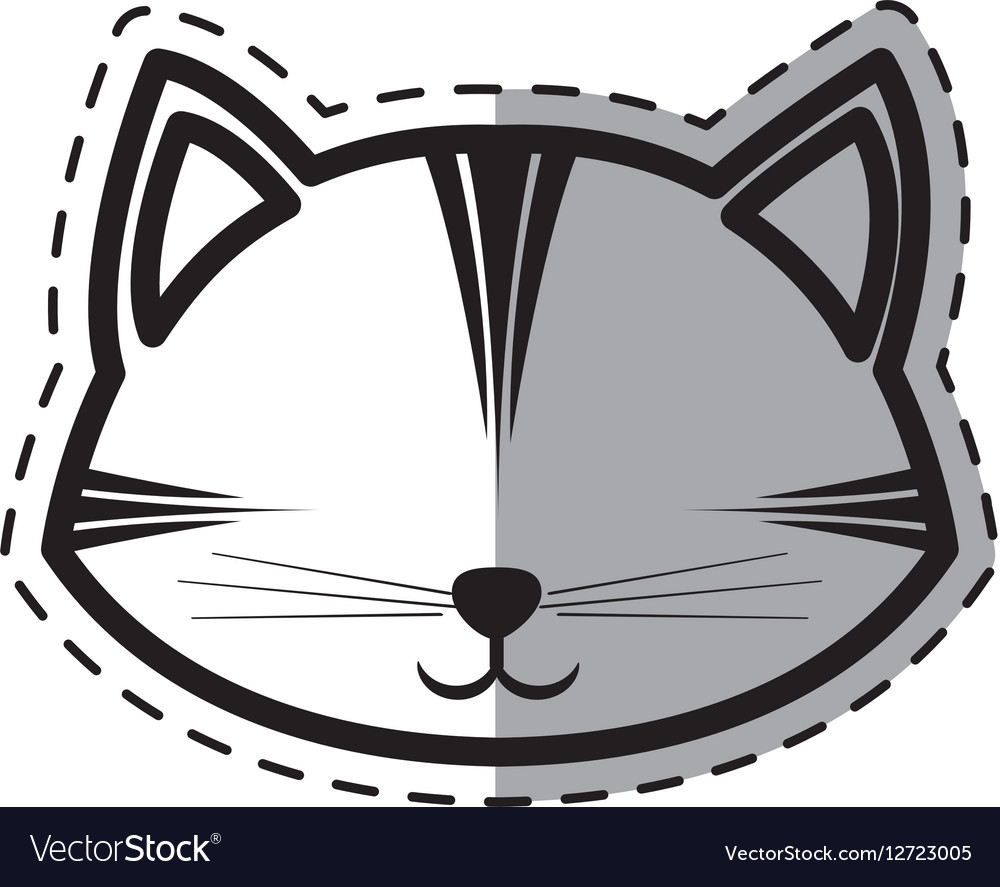 Face cat feline curious small dot line shadow