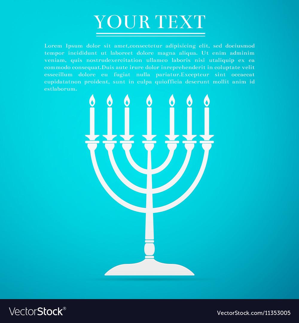 Hanukkah menorah flat icon on blue background