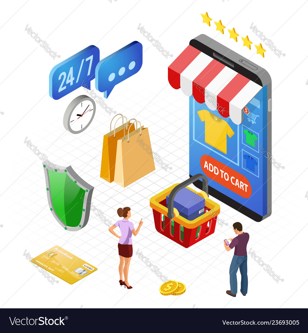 Internet shopping online payments isometric