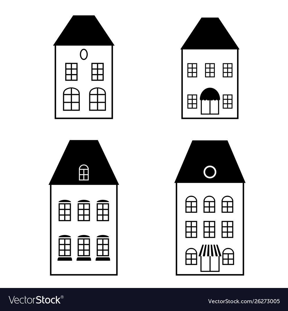 Isolated black simple facades