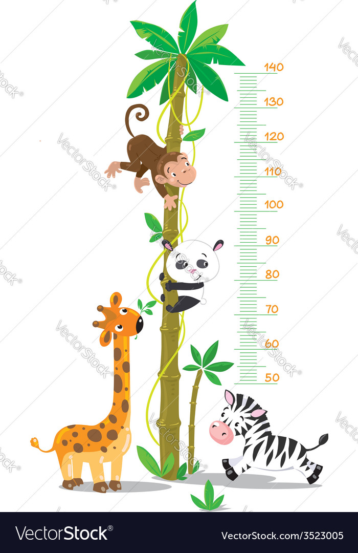 Meter wall with palm tree and funny animals