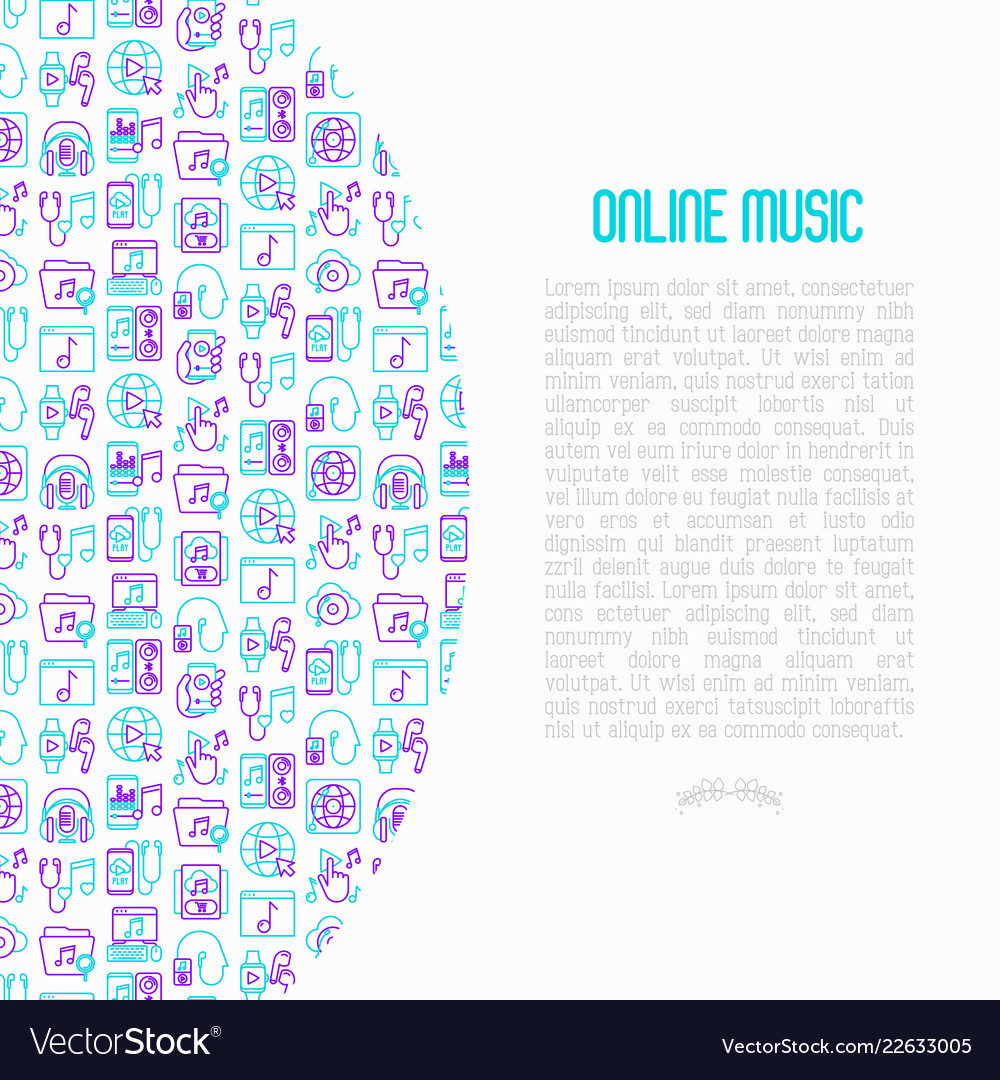 Online music concept with thin line icons