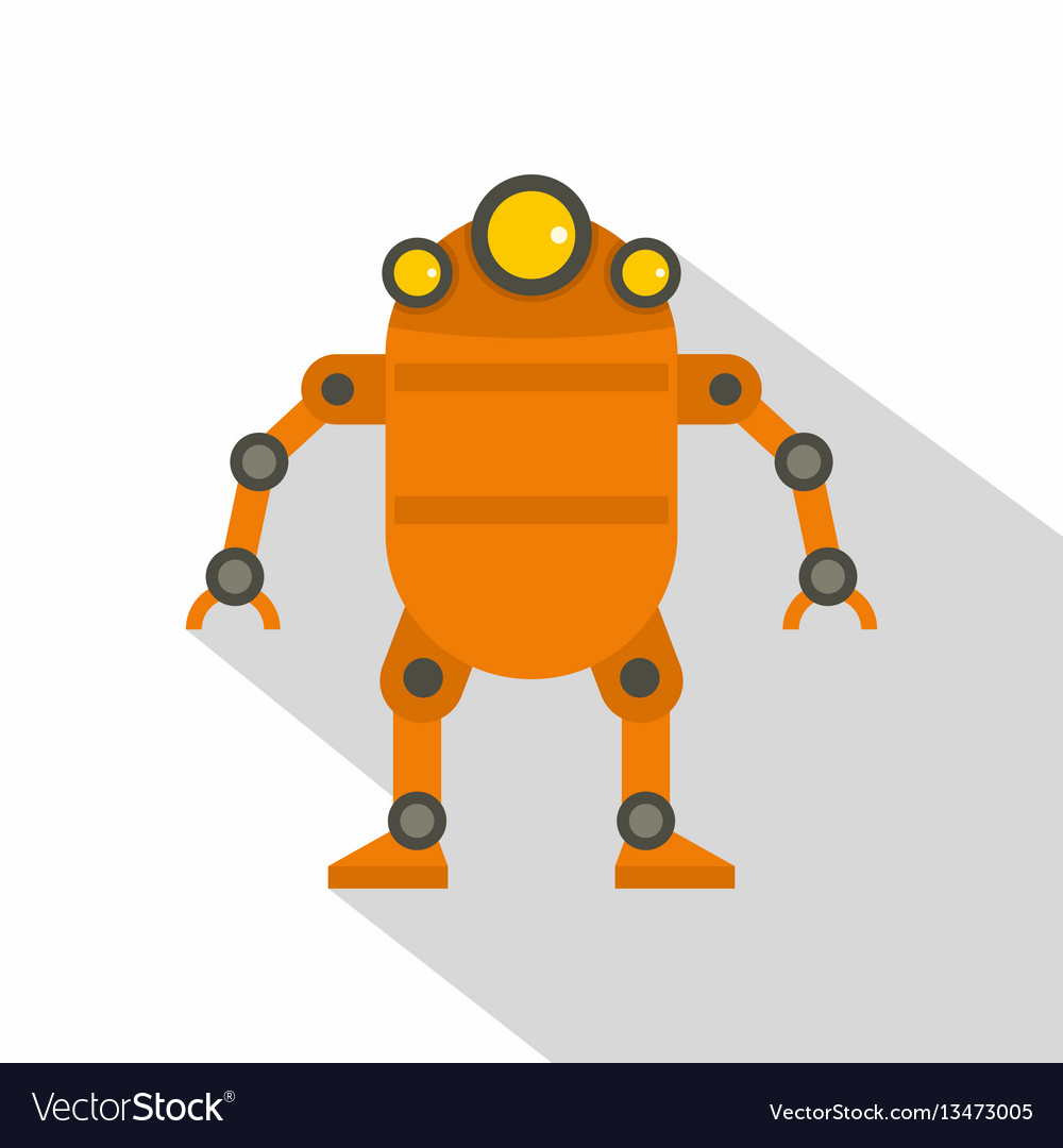 Orange abstract robot icon flat style
