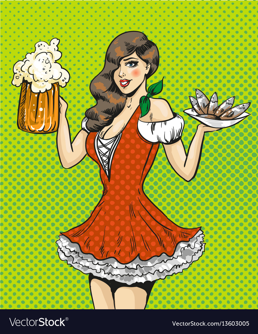 Pop art of girl with beer and