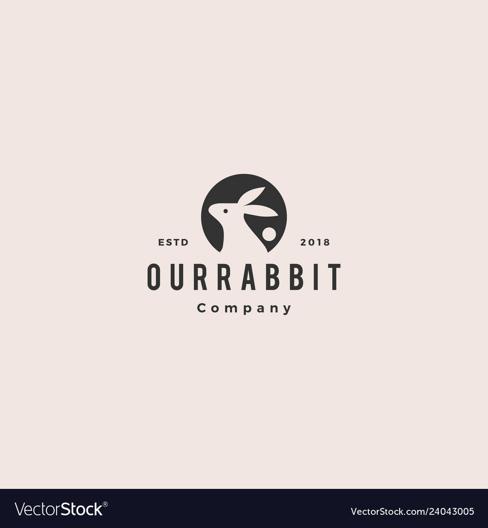 Rabbit circle round negative style logo vintage vector