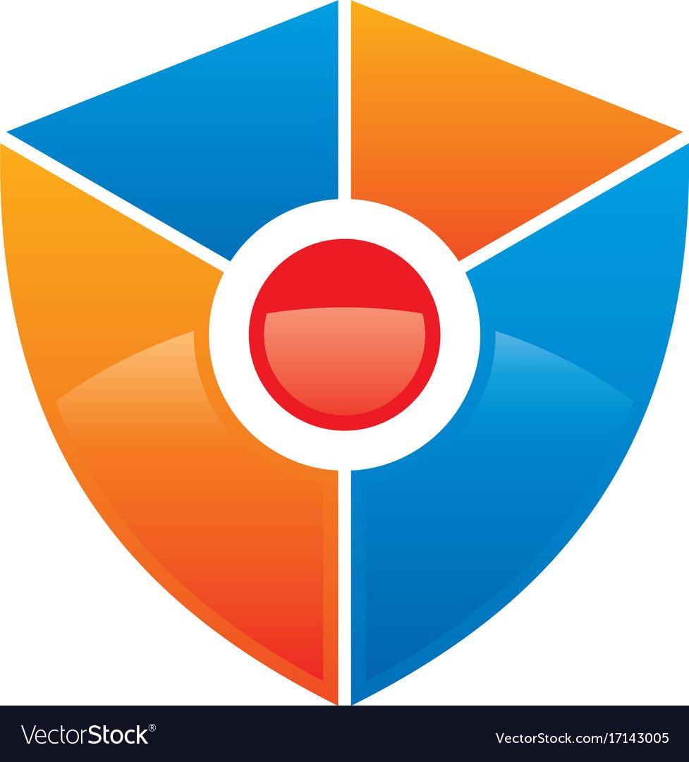 Shield colored technology logo