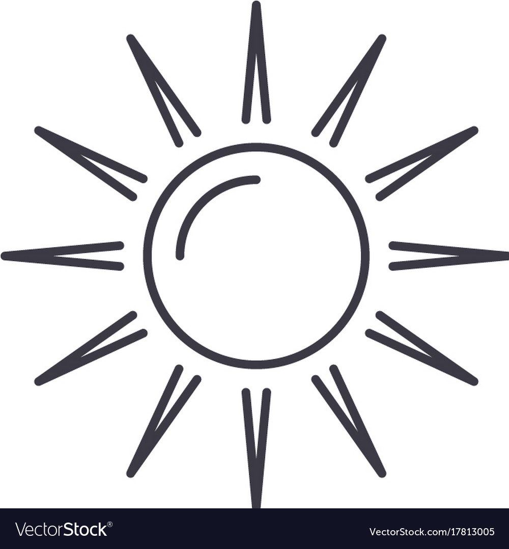 Sun line icon sign on