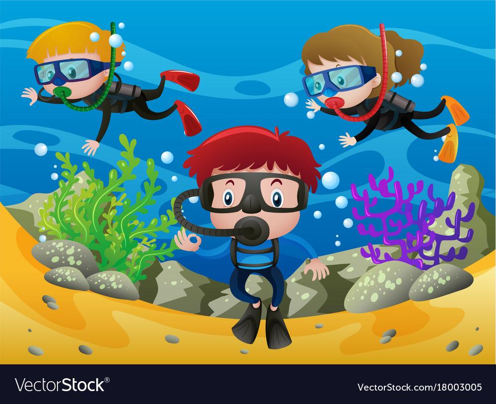 Three kids diving under the ocean