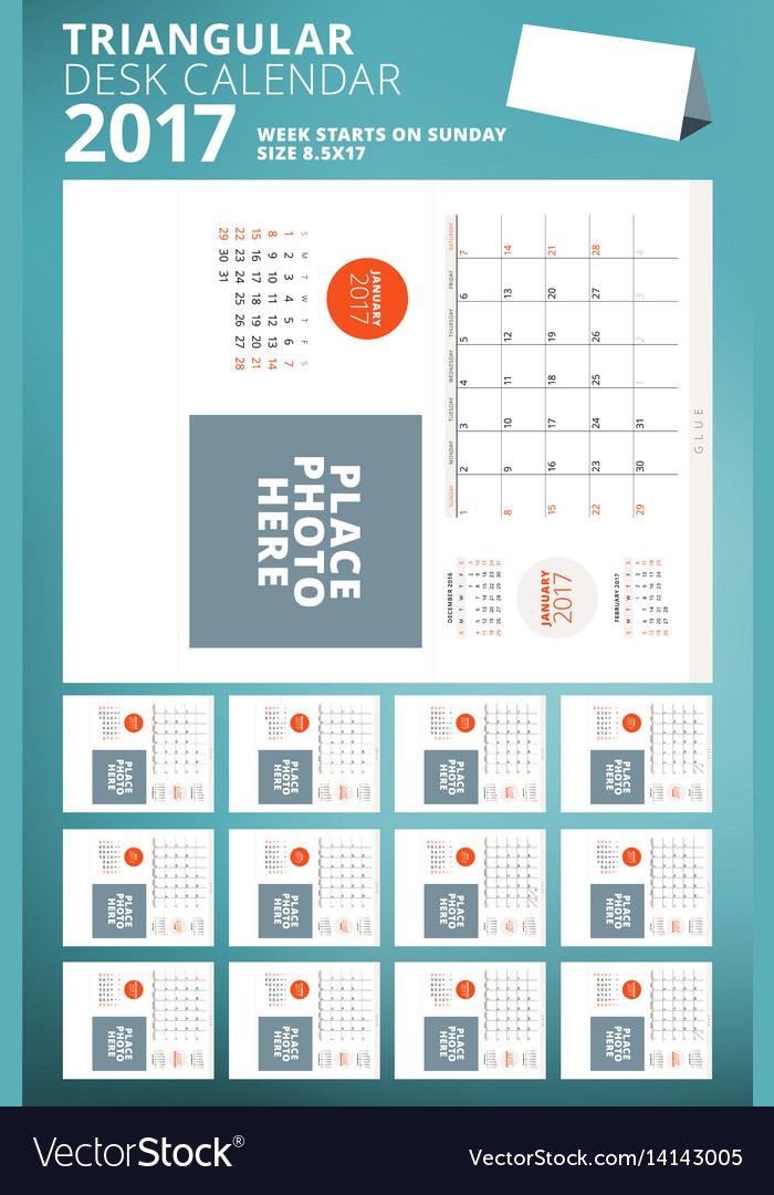 Triangular desk calendar planner for 2017 year