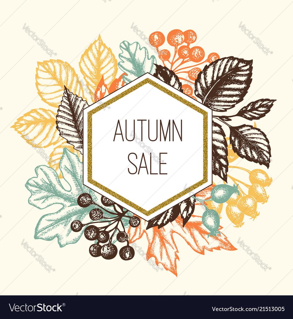 Vintage autumn floral frame with leaves