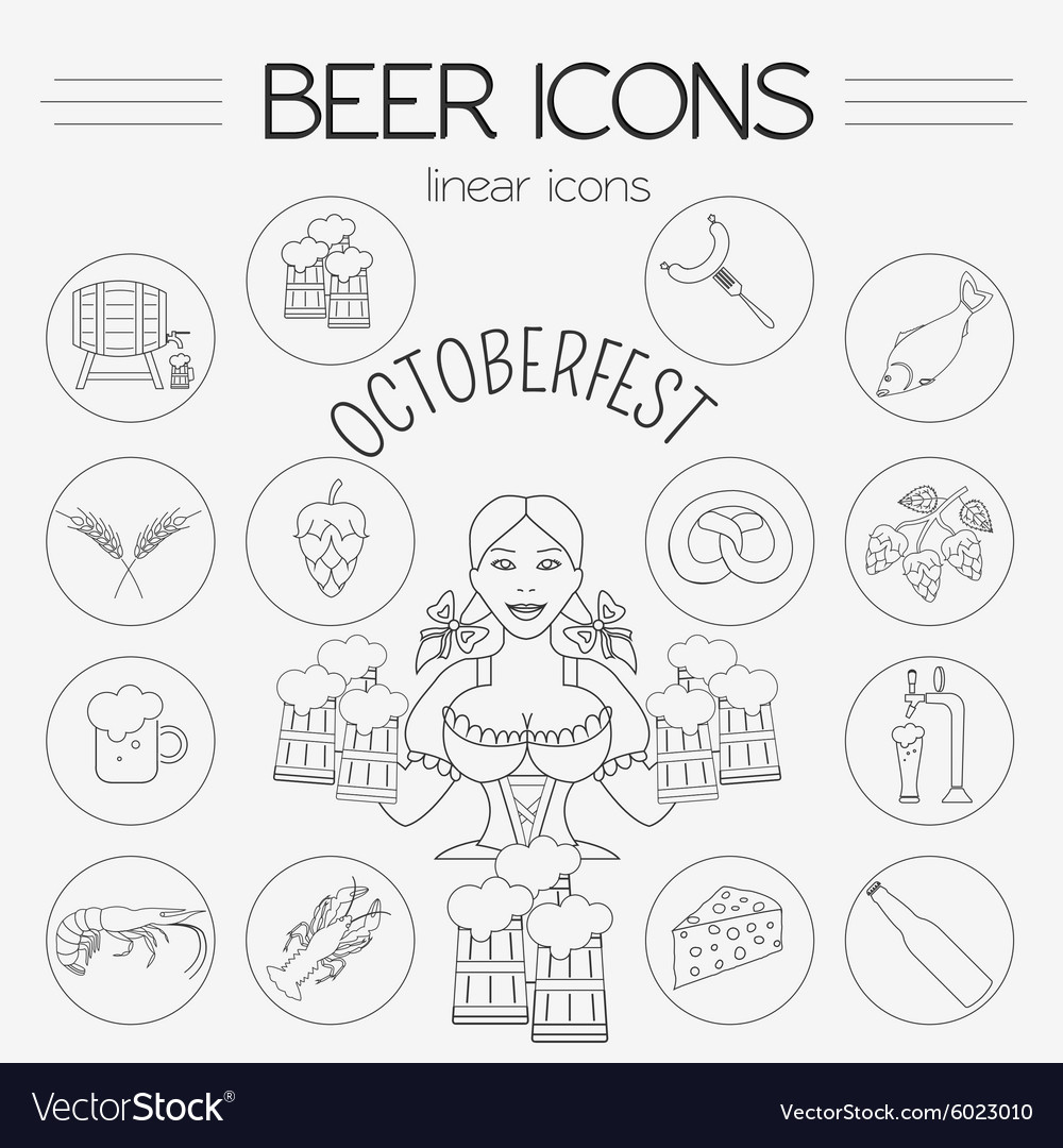 Beer icon set Logos and badges template Linear