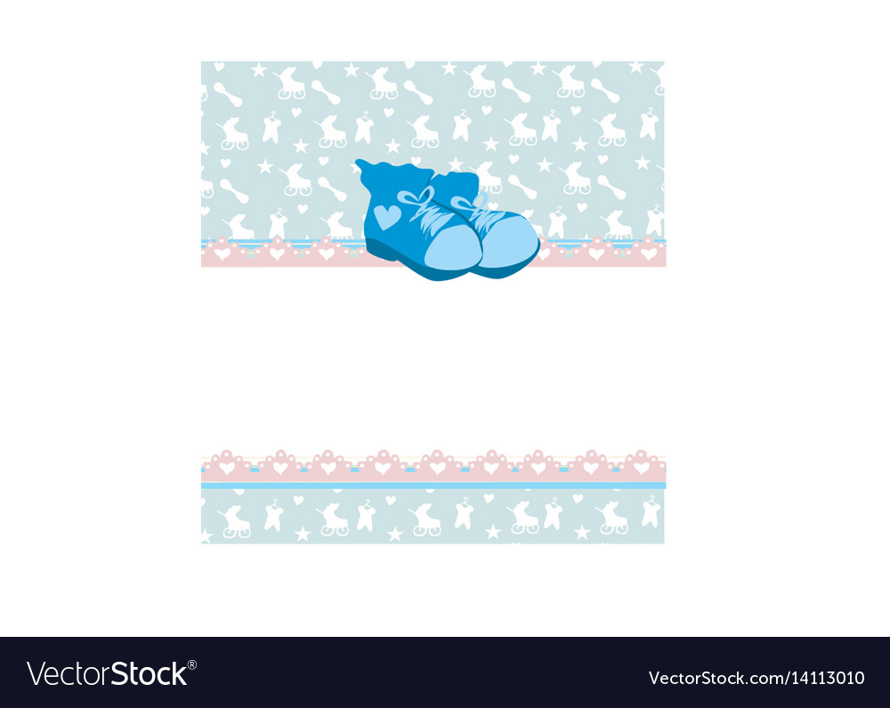 Blue baby shower card with baby boy shoes vector image