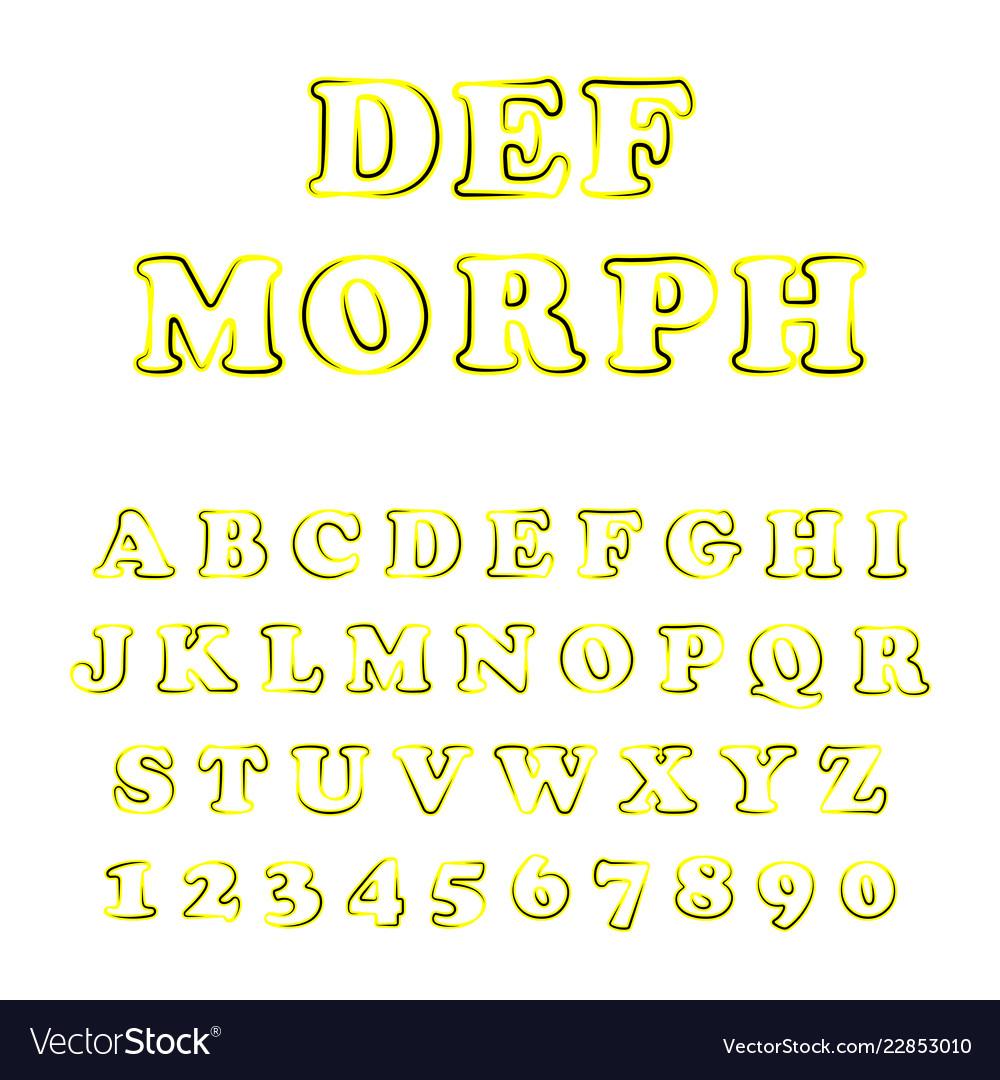Bold modern font and alphabet