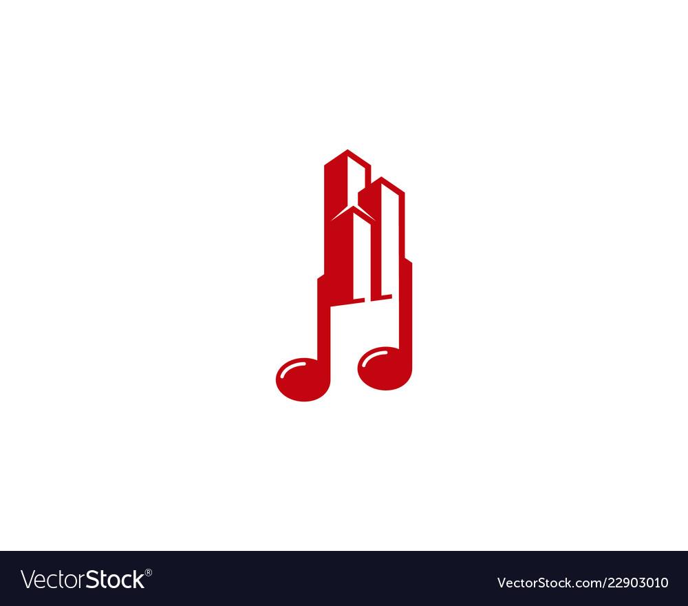 Building music logo icon design