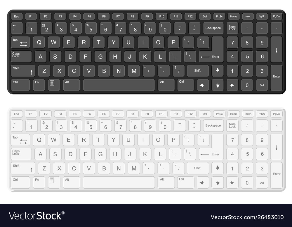 Cartoon Black And White Computer Keyboard Template