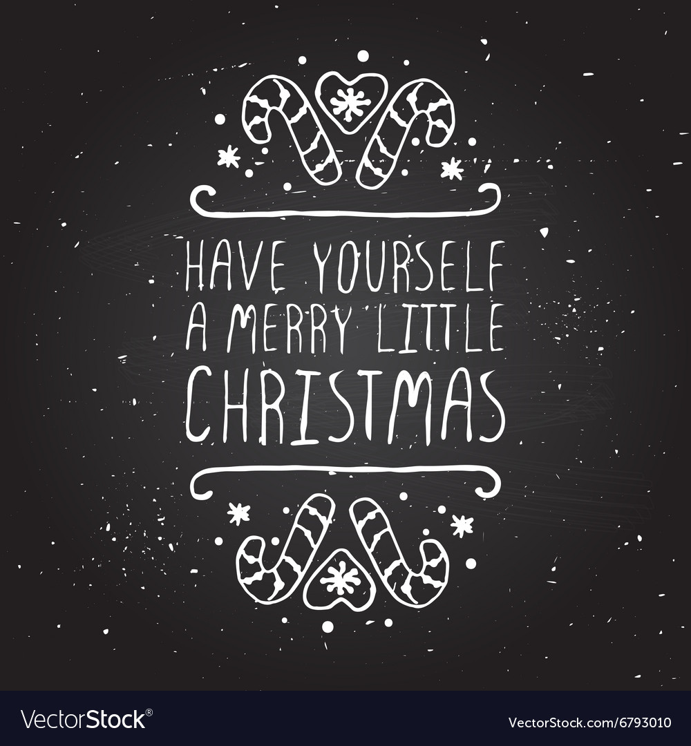 Christmas greeting card with text on chalkboard vector image