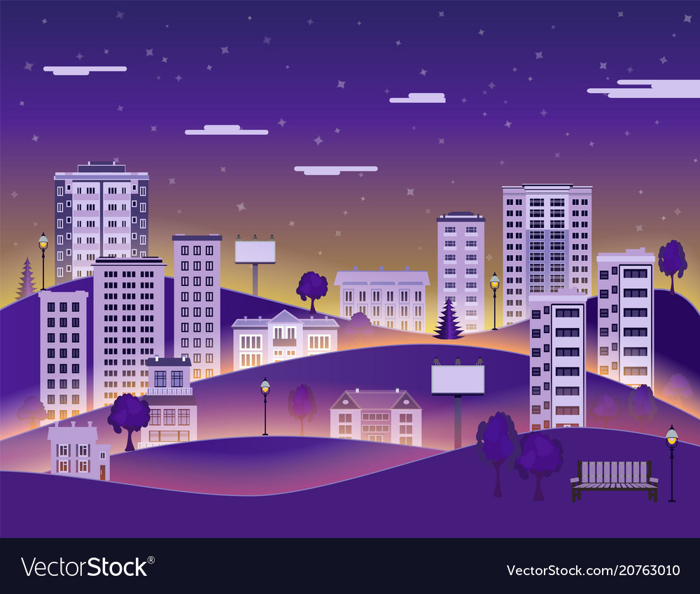 City landscape in night with multistorey apartment