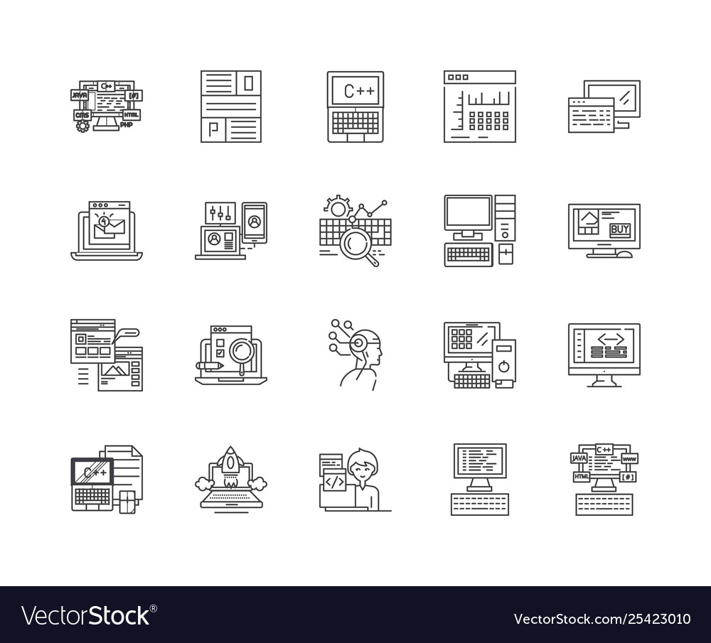 Coding line icons signs set outline