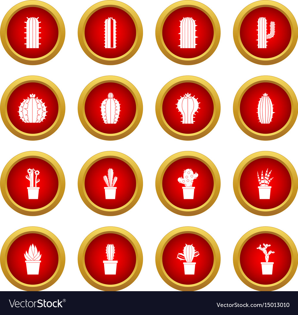 Different cactuses icon red circle set vector image