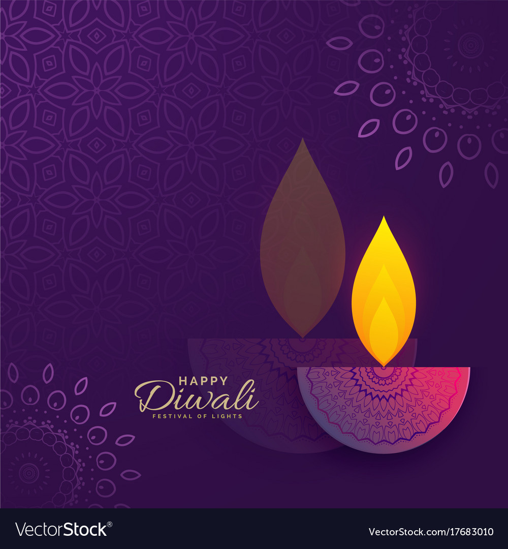 Diwali Greeting Card Design With Creative Diya Vector Image