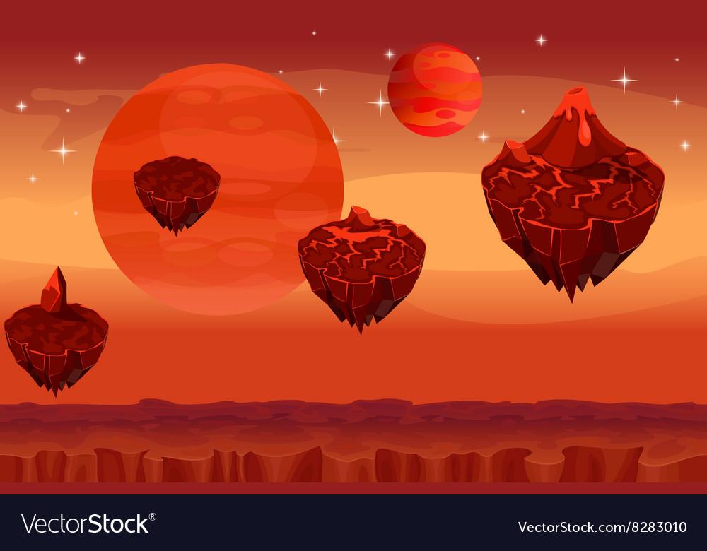 Fantastic space landscape martian alien planet