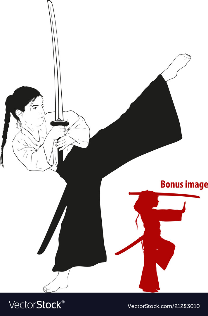 Girl training with sword