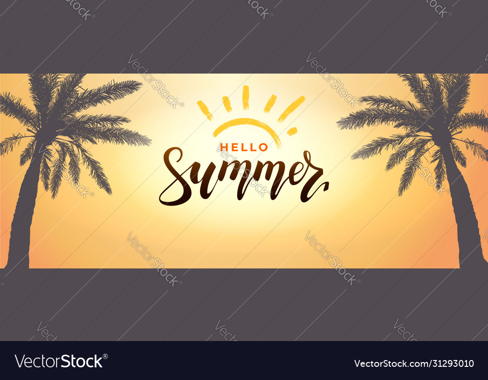 Hello summer background banner tropical