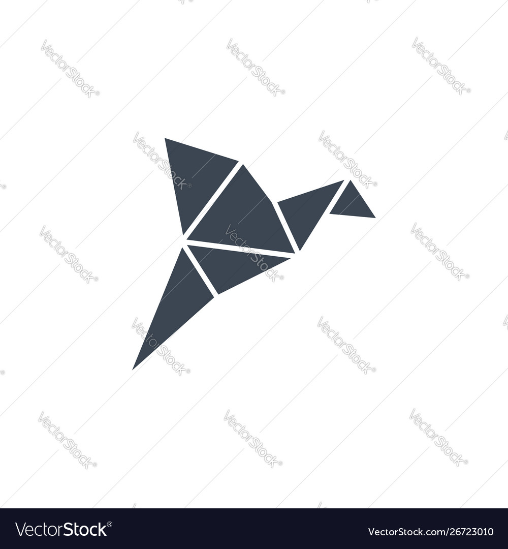 Origami bird related glyph icon