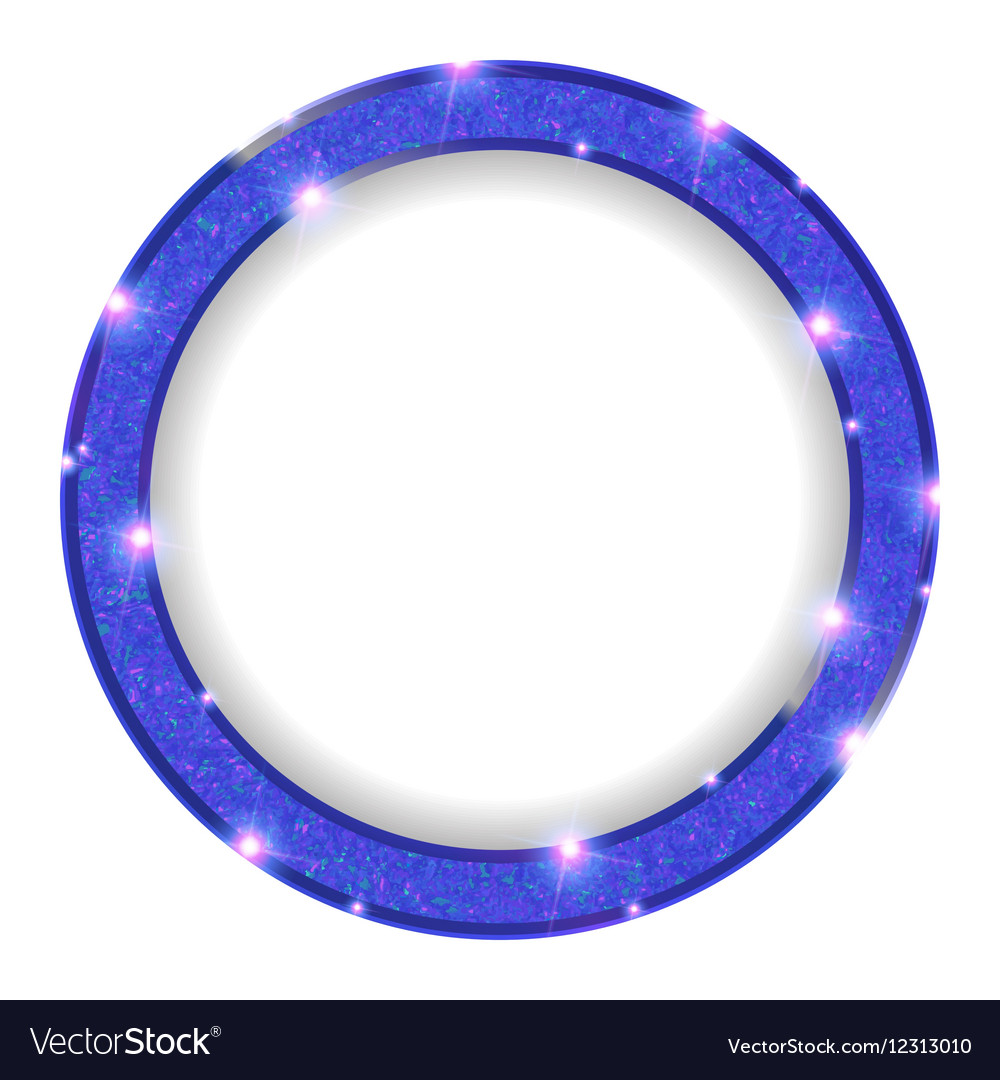 Round Blue Frame With Lights On A Light Background Vector Image
