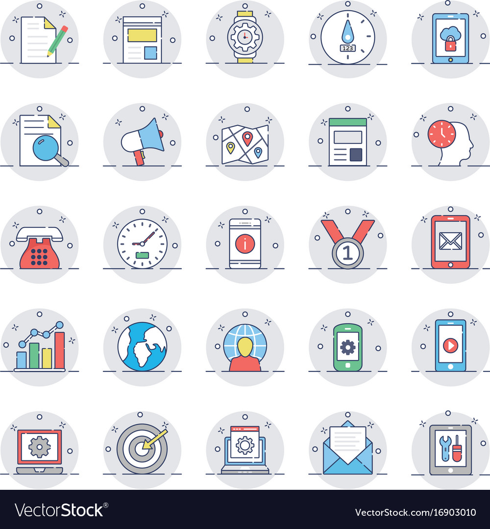 Seo and marketing colored line icons 2