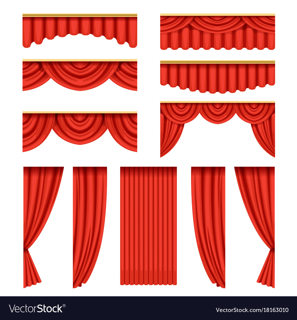 Set of red curtains with pelmets for theater stage vector image
